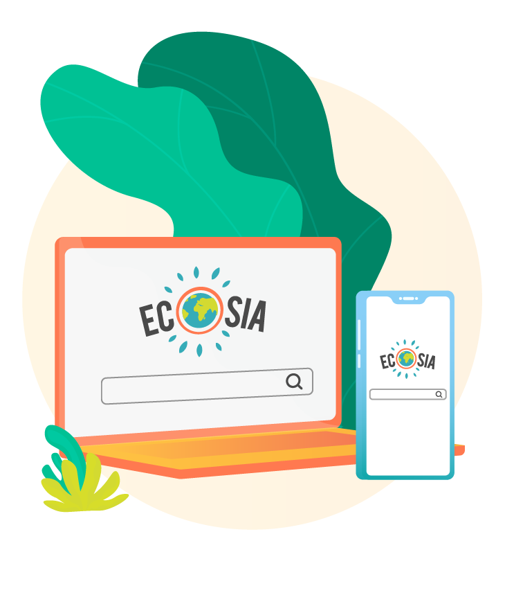 Illustration of Ecosia on laptop and mobile
